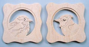 Scroll Saw Blue Jay & Sparrow In Natural Wood