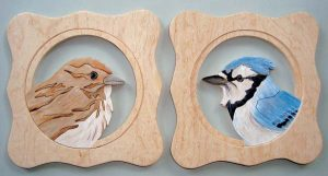 Painted Scroll Saw Blue Jay & Sparrow